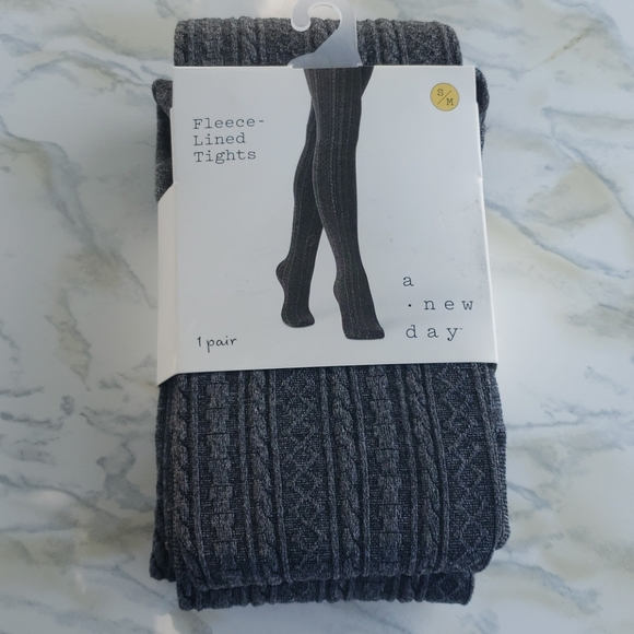 Cable Knit Sweater Tights S/M Charcoal